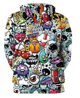 Cartoon Figures 3D Printed Hoodies
