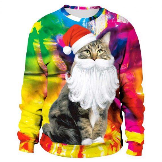Cat with Santa 3D Printed Sweatshirts
