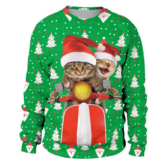 Christmas Cats Riding Scooter 3D Printed Sweatshirts