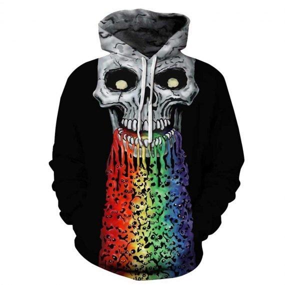 Colorful Skull 3D Printed Hoodies