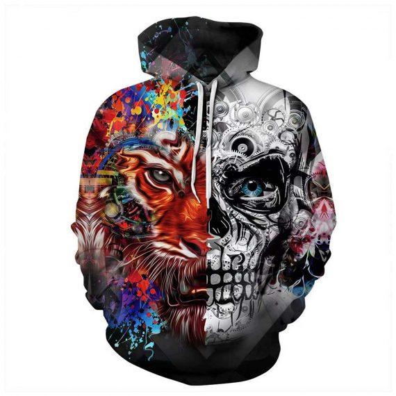 Colorful Tiger Skull 3D Printed Hoodies