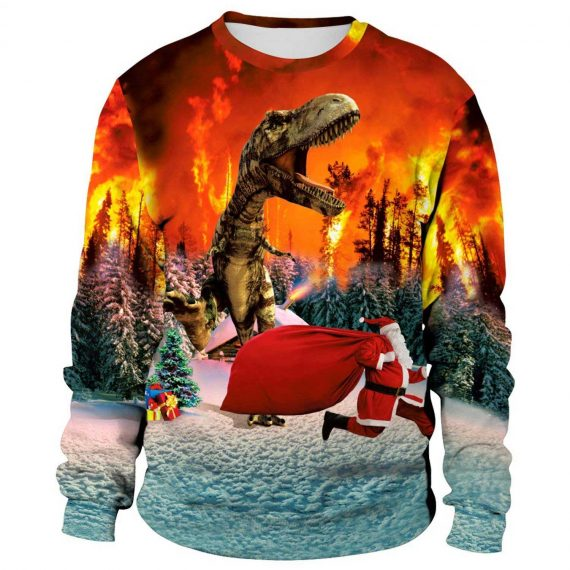 Dinosaur Attacked Santa 3D Printed Sweatshirts