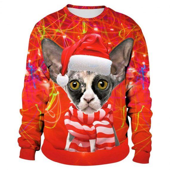 Funny Xmas Cat 3D Printed Sweatshirts
