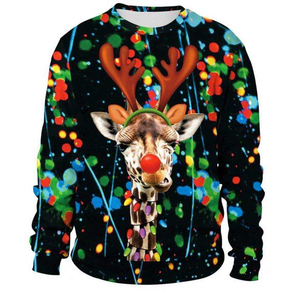 Funny Xmas Giraffe 3D Printed Sweatshirts