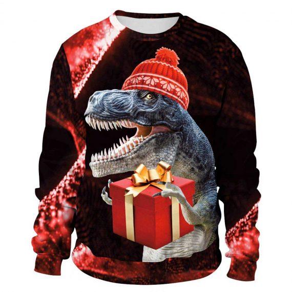 Happy Xmas Dinosaur 3D Printed Sweatshirts