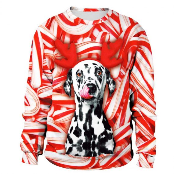 Red Reindeer Dog 3D Printed Sweatshirts