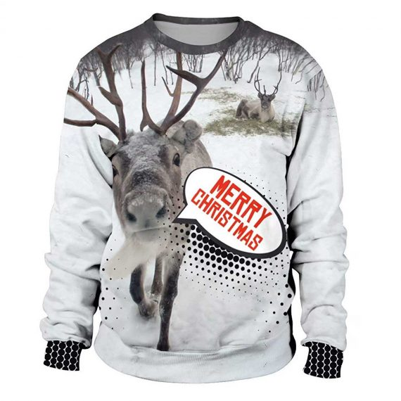 Reindeer Merry Christmas 3D Printed Sweatshirts