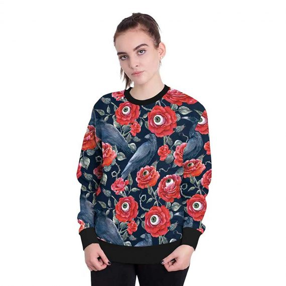 Rose with Eye 3D Printed Sweatshirts