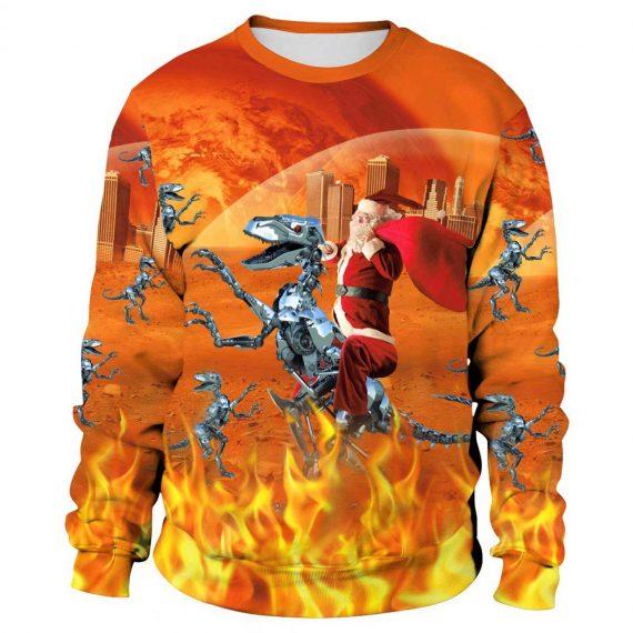 Santa Dinosaur 3D Printed Sweatshirts