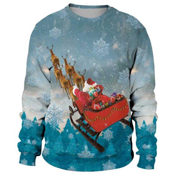 Santa Sleigh 3D Printed Sweatshirts