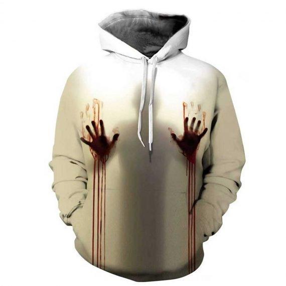 White Bloody Hands 3D Printed Hoodies
