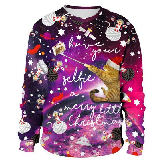 Xmas Cat Selfie 3D Printed Sweatshirts
