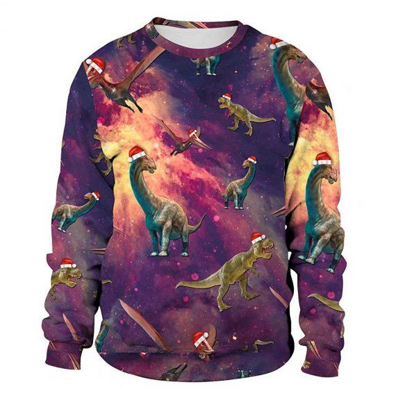 Xmas Dinosaur 3D Printed Sweatshirts