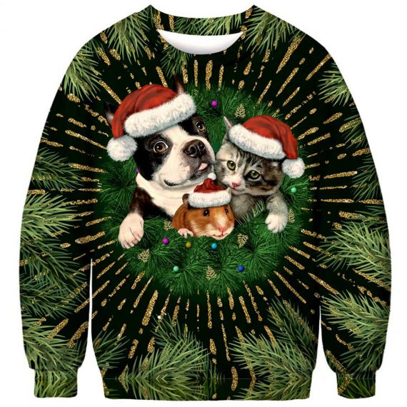 Xmas Dog, Cat, and Mouse 3D Printed Sweatshirts