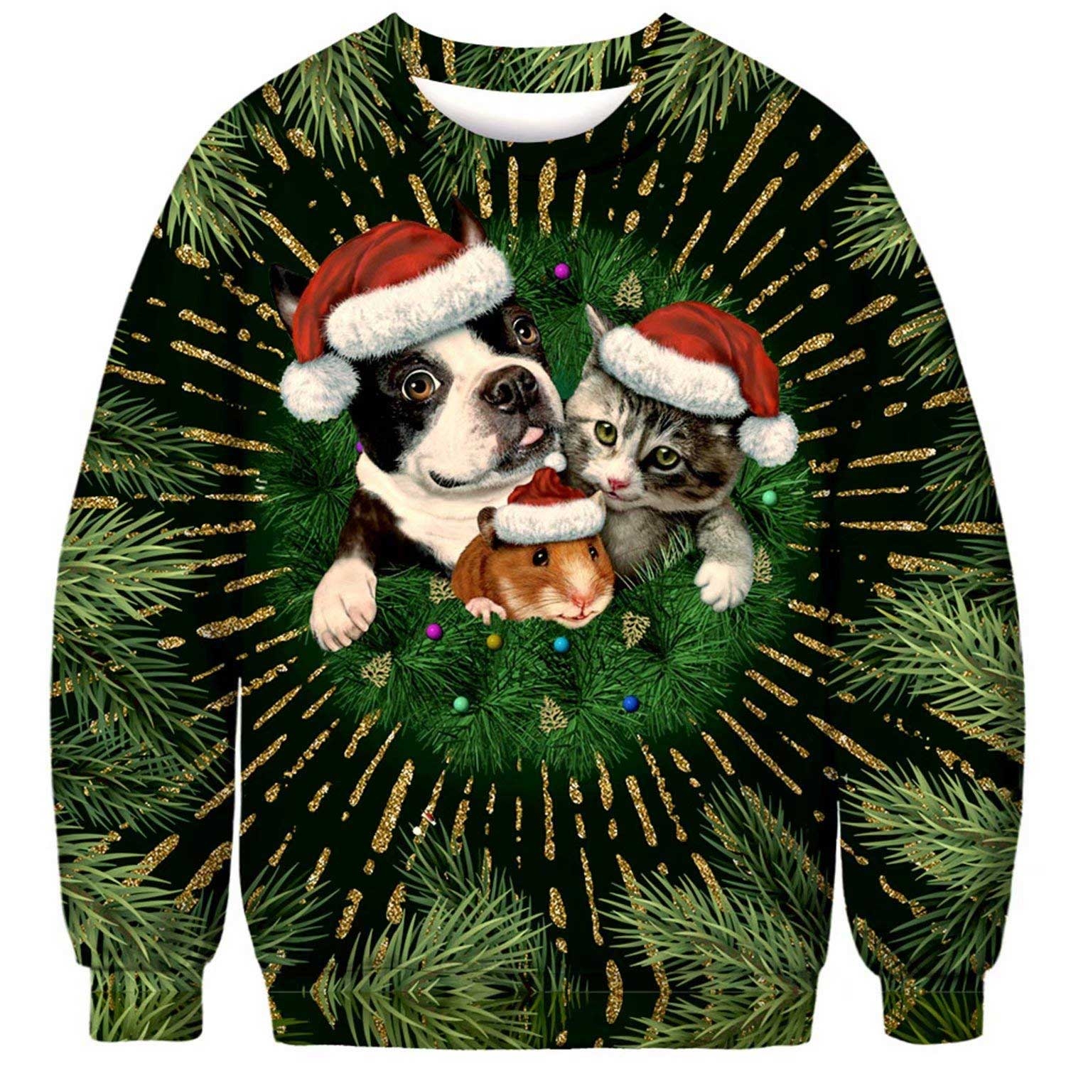 Boston Terrier Christmas Sweater.Xmas Dog Cat And Mouse Ugly Christmas Sweatshirt