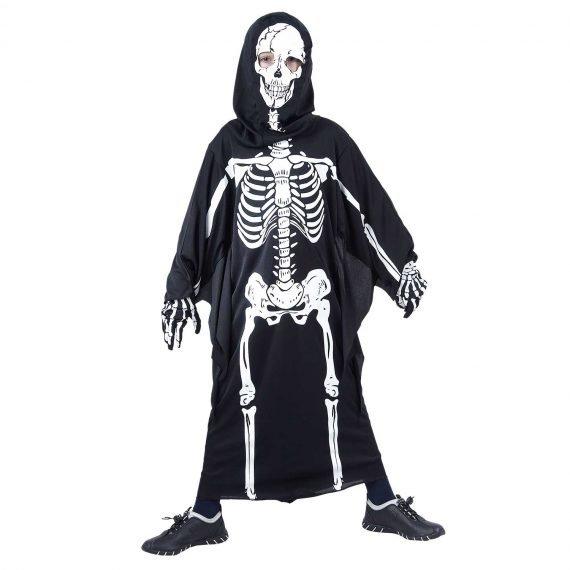 Boys Full Robe Hooded Skeleton Scary Halloween Costume