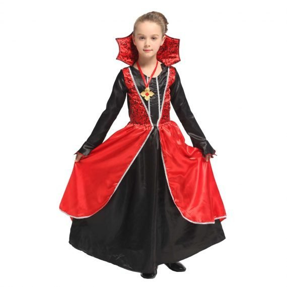 Crazy Dame Dracula Halloween Dress for Little Girls