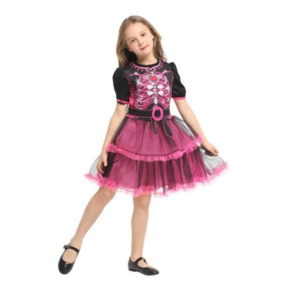 Girls Pink Skeleton Tutu Dress for Halloween