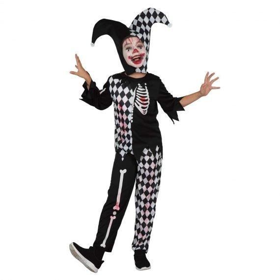Kids Boys Creepy Jester Clown Scary Halloween Costume