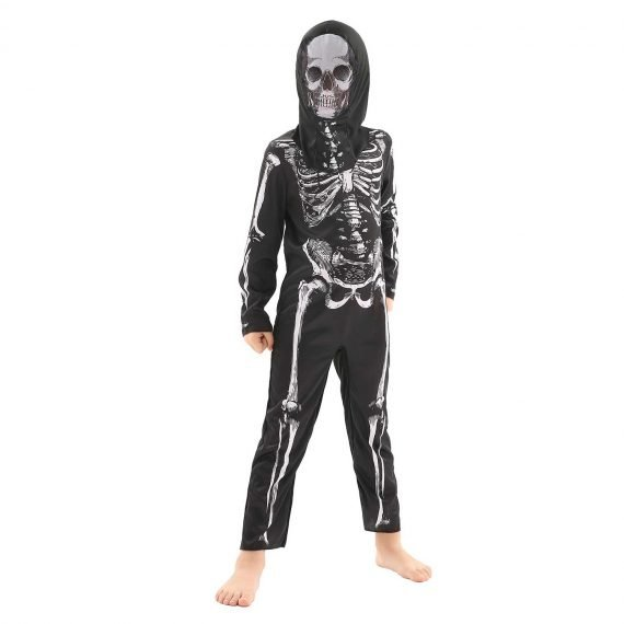 Kids Scary Halloween Skeleton Jumpsuit with Mask