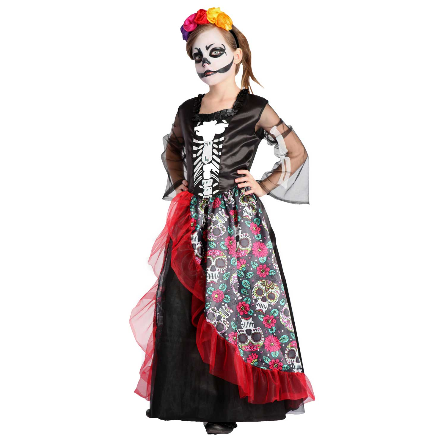 Girl\u2019s Day of the Dead Scary Halloween Dress Costume