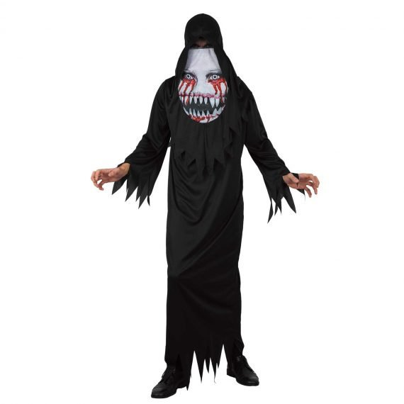 Men's Demon Robe with Printed Hood Halloween Costume