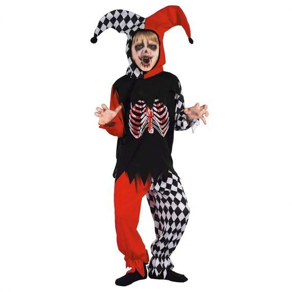 Scary Jester Clown Costume for Kids Boys