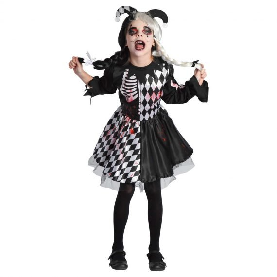 Scary Little Girls Wicked Harlequin Halloween Holiday Outfit