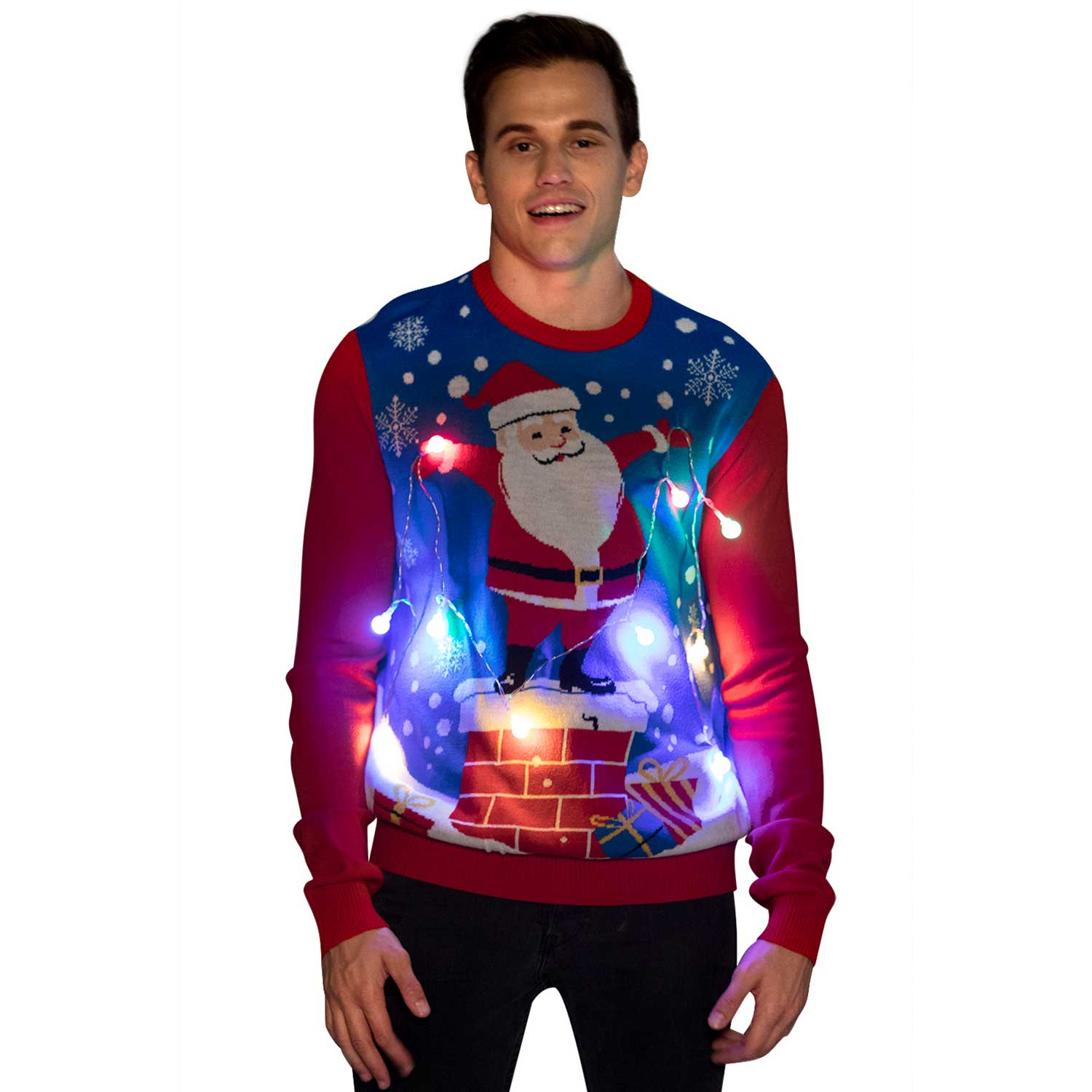 Santa Holding The Led Lights Couples Ugly Christmas Sweater