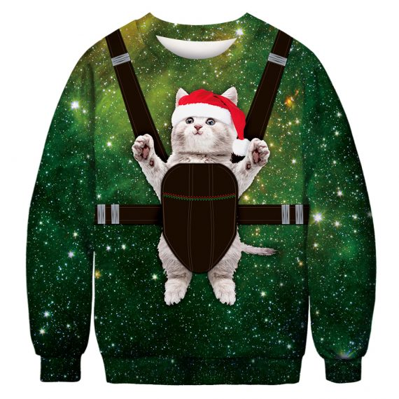 Carry on Festive Cat Ugly Christmas Sweatshirt