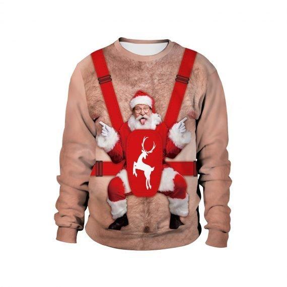 Carry on Festive Santa 3D Ugly Christmas Sweatshirt