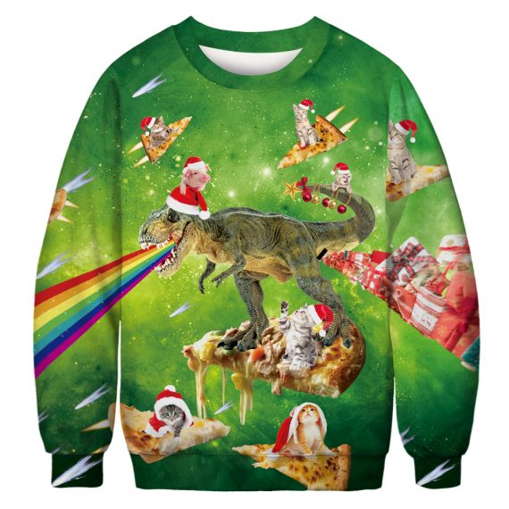 Cat, Pig and Rex Pizza Fest Ugly Christmas Sweatshirt