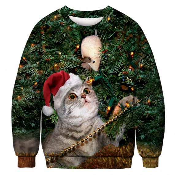 Cat Stalks Mouse Ugly Christmas Sweatshirt