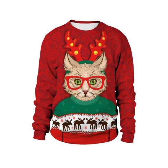 Clever Cat Rocks a Reindeer Vibe 3D Ugly Christmas Sweatshirt