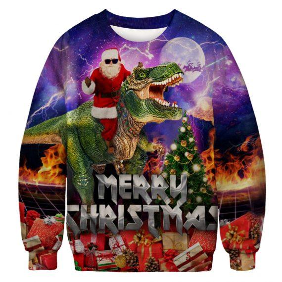 Cool Santa Rocks a T-Rex Ride Ugly Christmas Sweatshirt