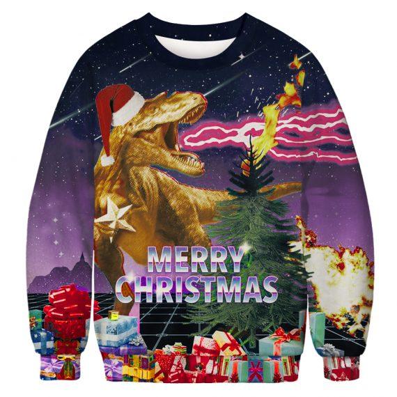 T-Rex Lights it Up Ugly Christmas Sweatshirt