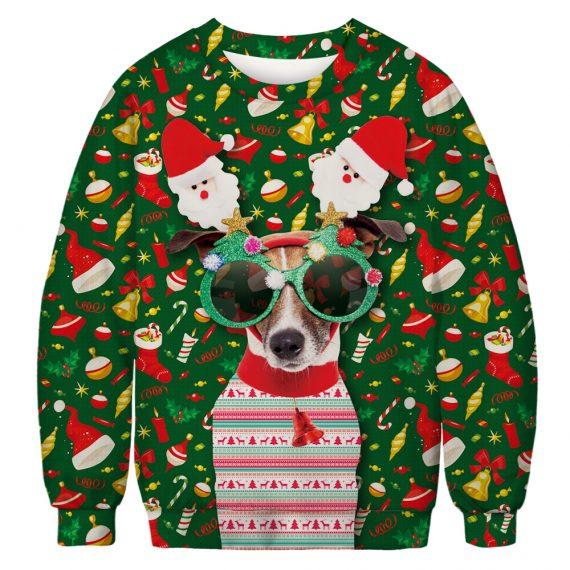 Dashing Dachshund Dog Does Festive Ugly Christmas Sweatshirt