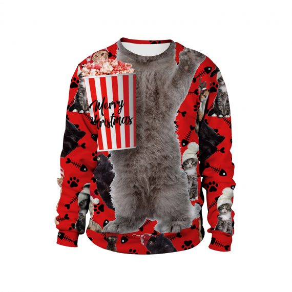 Festive Cats Be like 3D Ugly Christmas Sweatshirt