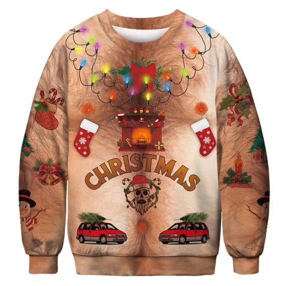 Festive Classics on Fur Ugly Christmas Sweatshirt