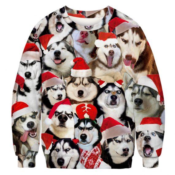 Ho Ho Husky Dog Ugly Christmas Sweatshirt