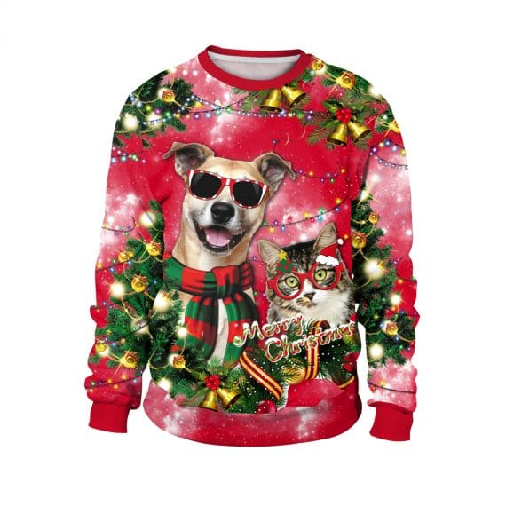 Hot Dog and Cool Cat's Festive Vibes Ugly Christmas Sweatshirt