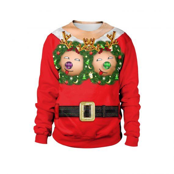 Jingle Jugs Rocking Reindeer 3D Ugly Christmas Sweatshirt