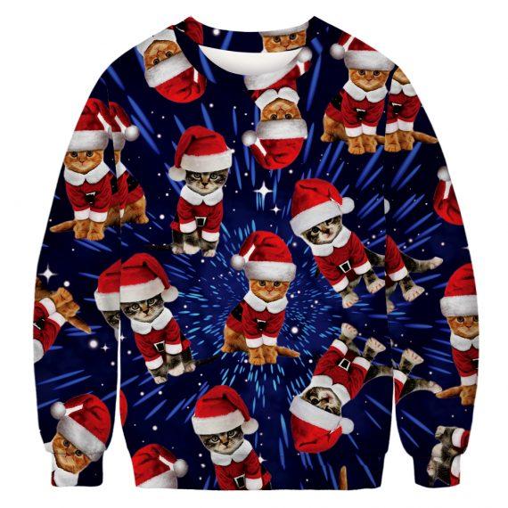 Kittens in Santa Suits Ugly Christmas Sweatshirt