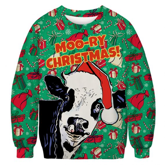 Moo So Merry Cow Ugly Christmas Sweatshirt