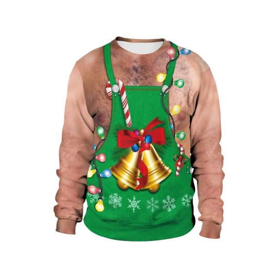 Ring the Bells over Festive Fur Funny 3D Ugly Christmas Sweatshirt