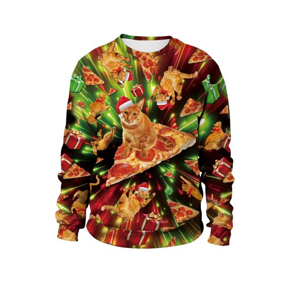 Rock a Festival of Cats and Pizza 3D Ugly Christmas Sweatshirt