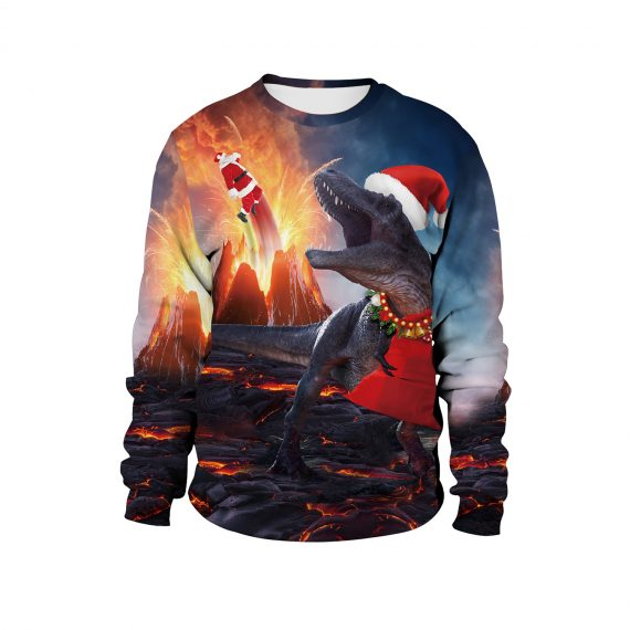 Santa and Rex Blow it Up 3D Ugly Christmas Sweatshirt