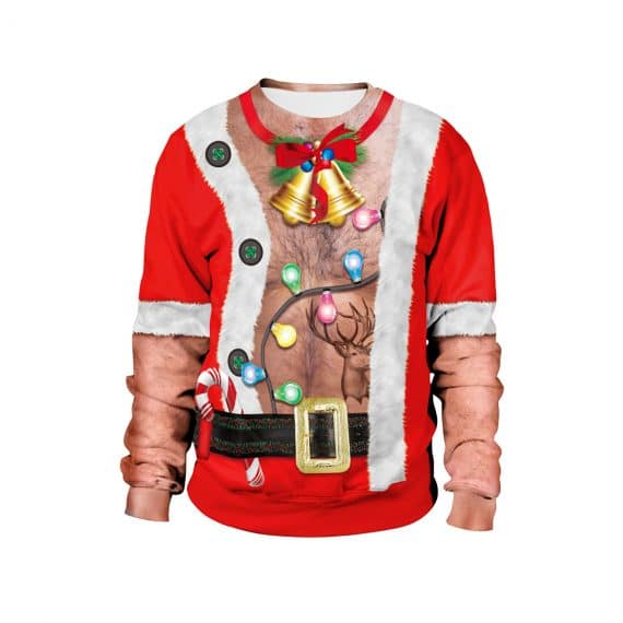 Santa Flashes his Festive Fuzz 3D Ugly Christmas Sweatshirt