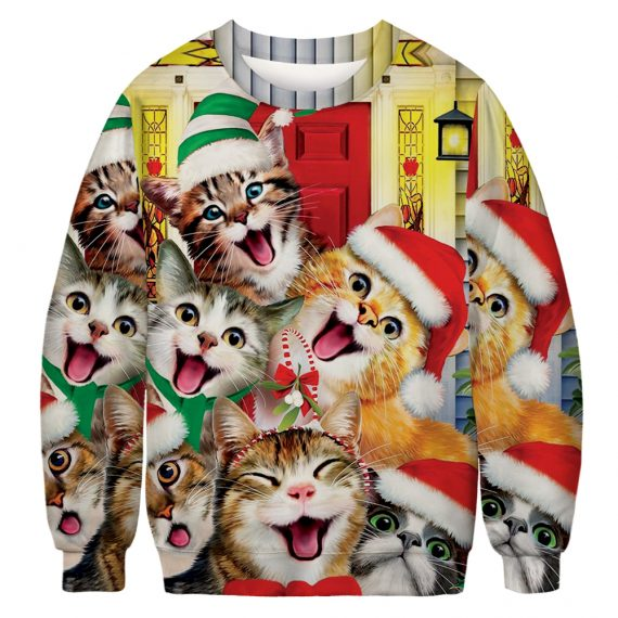 Selfie Cats Be Crazy Ugly Christmas Sweatshirt