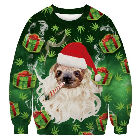 Smokin' Hot Santa Sloth Ugly Christmas Sweatshirt